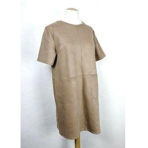Zara Basic Camel Colored Patch Pockets Shift Dress